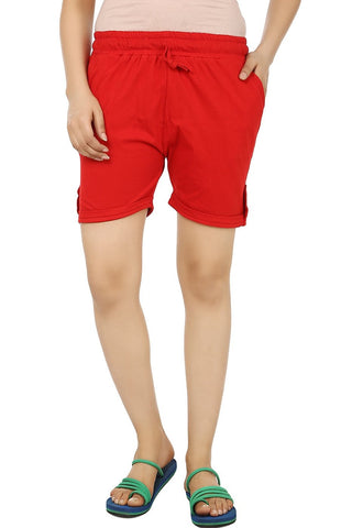 TeeMoods Solid Red Women's Cotton Shorts