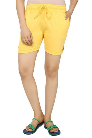 TeeMoods Solid Yellow Women's Shorts