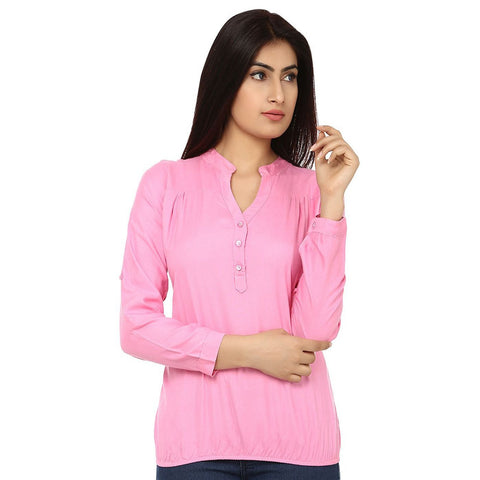TeeMoods Cotton Pink Women's Shirt-Front