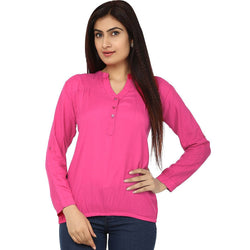TeeMoods Cotton Dark Pink Women's Shirt-Front