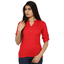 TeeMoods Cotton Red Women's Shirt