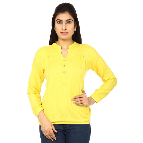 TeeMoods Cotton Yellow Women's Shirt-Front