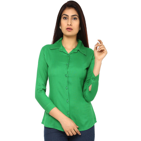 TeeMoods Women's Casual Solid Green Shirt