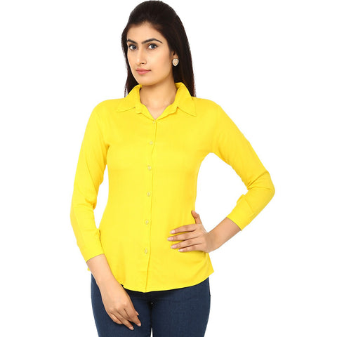 TeeMoods Women's Casual Solid Yellow Shirt