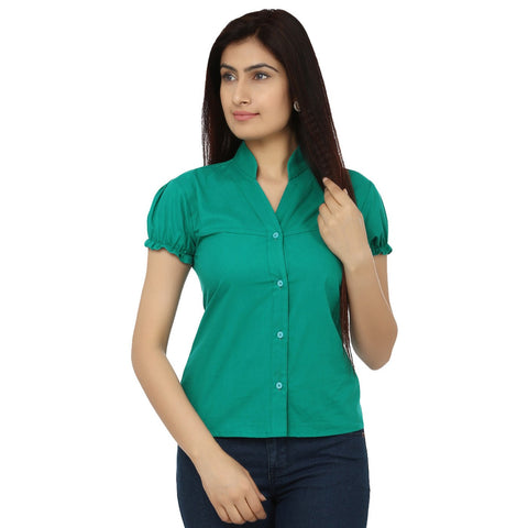 TeeMoods Green Cotton Shirt-Front