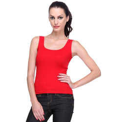 Women's Solid Red Tank Top