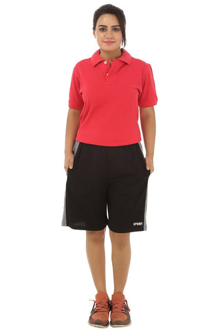 TeeMoods Womens Sports Shorts -Black-Front View