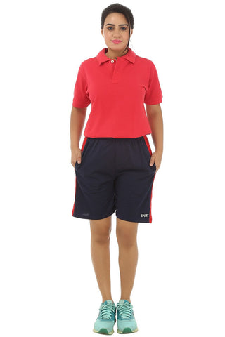 TeeMoods Womens Sports Shorts -Navy-Full Front View