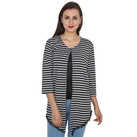 TeeMods High Low Black and Grey Striped Shrug