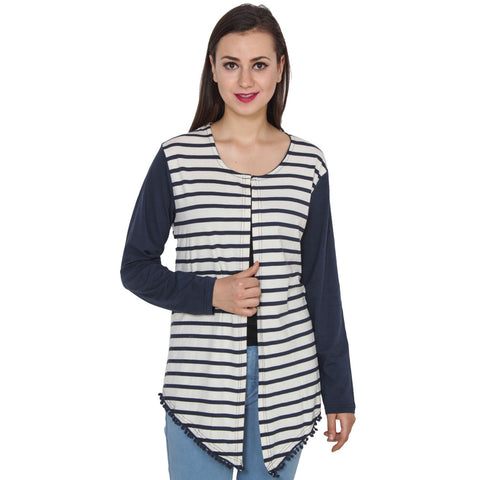 TeeMoods Navy and White Striped Shrug