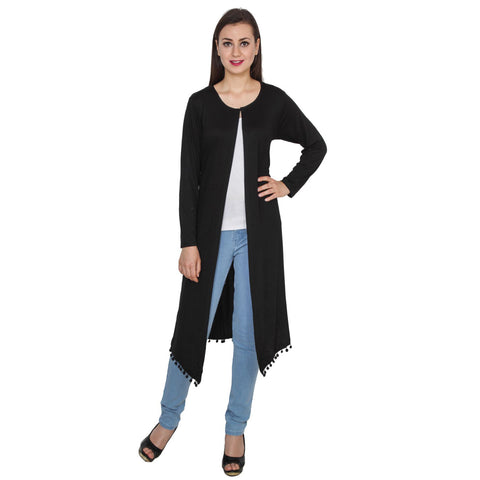 TeeMoods Long Black Shrug for Women