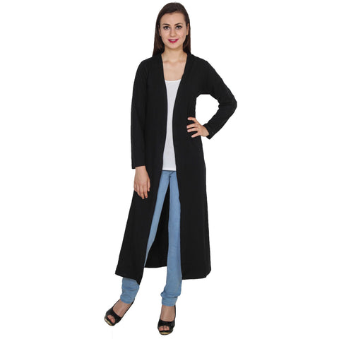 TeeMoods Open Front Long Black Shrug for Women