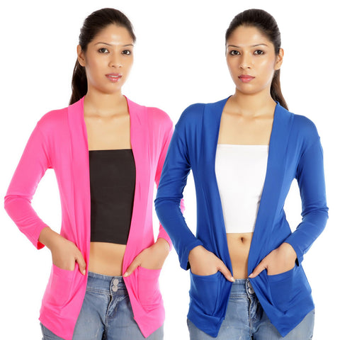 Set of Blue and Pink Full Sleeves Shrugs