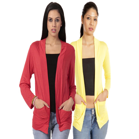 Set of Red and Yellow Full Sleeves Shrugs