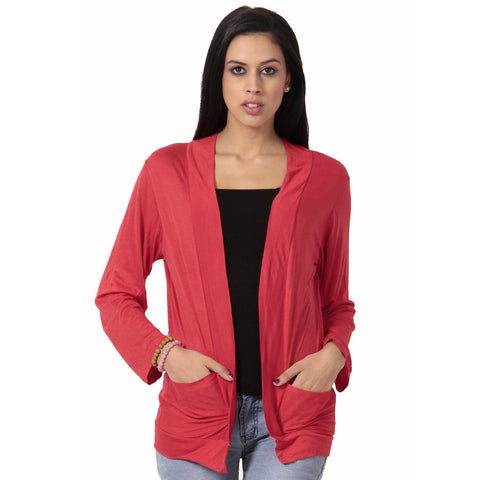 TeeMoods Full Sleeves Red Solid Shrug