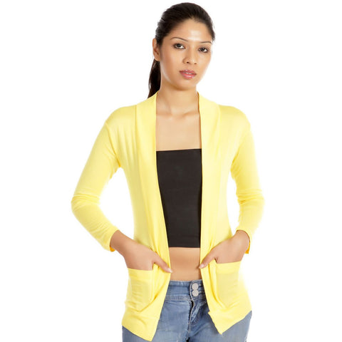 TeeMoods Full Sleeves Yellow Solid Shrug
