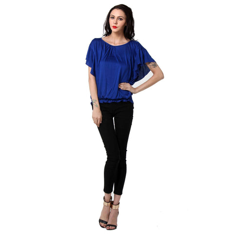Short Sleeve Solid Blue Women's Top