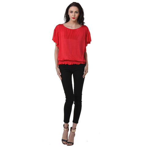 Short Sleeve Solid Red Women's Top
