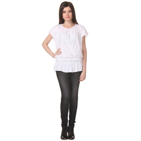 Short Sleeve Solid White Women's Top