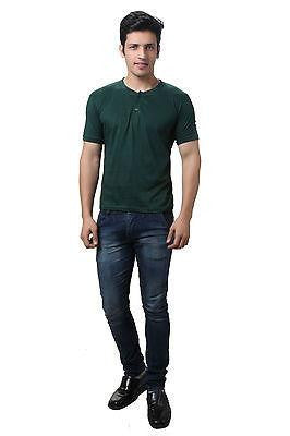 Solid Casual Dark Green Henley T shirt
