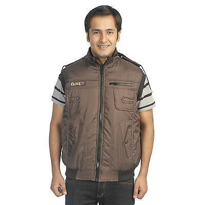 TeeMoods Stylish Quilted Sleeveless Dark Brown Winter Jacket