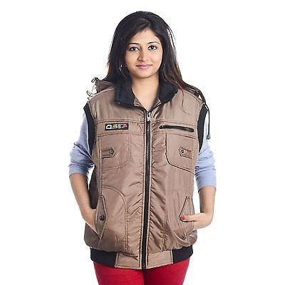 TeeMoods Stylish Quilted Sleeveless Light Brown Winter Jacket