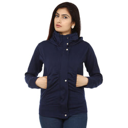 TeeMoods Stylish Navy Hooded Flap Zipper Sweatshirt