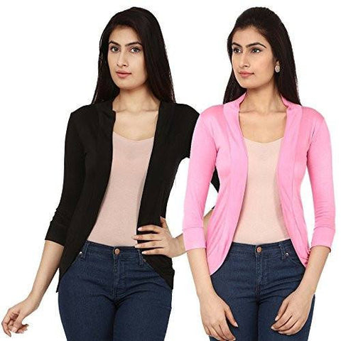 TeeMoods Womens Pack of Two Front Open Shrugs Black n Pink
