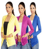 TeeMoods Set of three Blue Yellow Violet Full Sleeves Shrugs