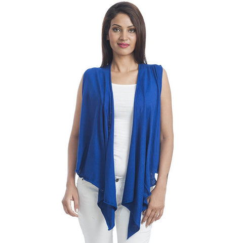 TeeMoods Sleeveless Blue Wrap Shrug-Front