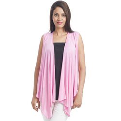 TeeMoods Sleeveless Pink Wrap Shrug-Front