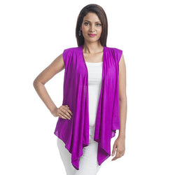 TeeMoods Sleeveless Purple Wrap Shrug