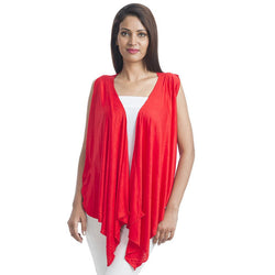 TeeMoods Sleeveless Red Wrap Shrug-Front