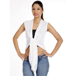 Sleeveless White Wrap Shrug-Front