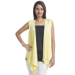TeeMoods Sleeveless Yellow Wrap Shrug-Front