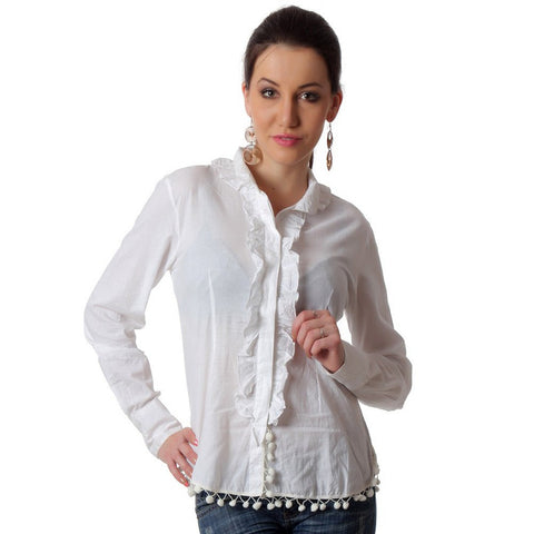 TeeMoods Victorian White Womens Shirt-Front