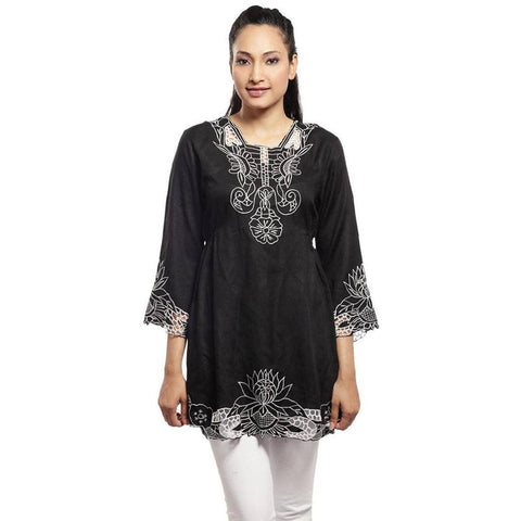 Somber Black Embroidered Tunic