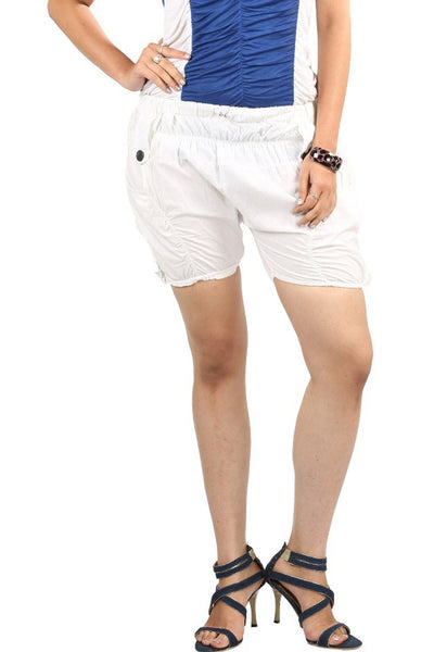 TeeMoods White Cotton Shorts
