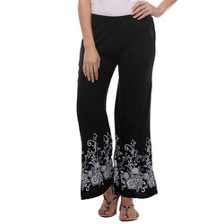 TeeMoods Women's Printed Black Cotton Palazzo