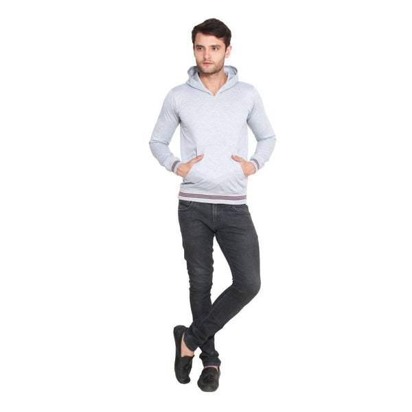 TeeMoods Men's Light Grey Pullover Hoodie