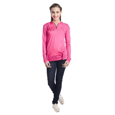 TeeMoods Full Sleeves Hooded Solid Dark Pink Top