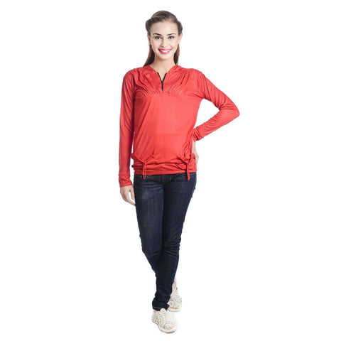 TeeMoods Full Sleeves Hooded Solid Red Top