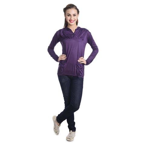 TeeMoods Full Sleeves Hooded Solid Violet Top