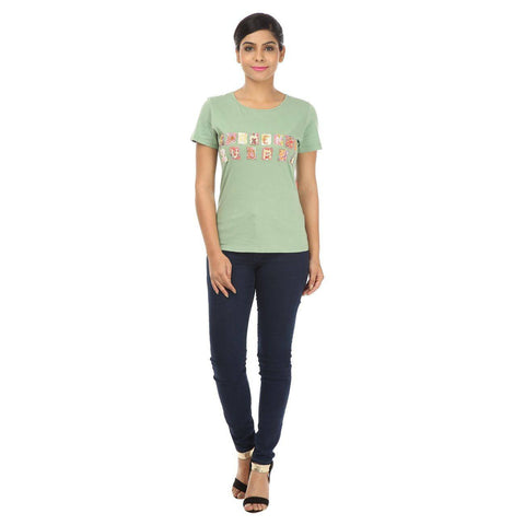 TeeMoods Solid Applique Green Cotton Women's T shirt