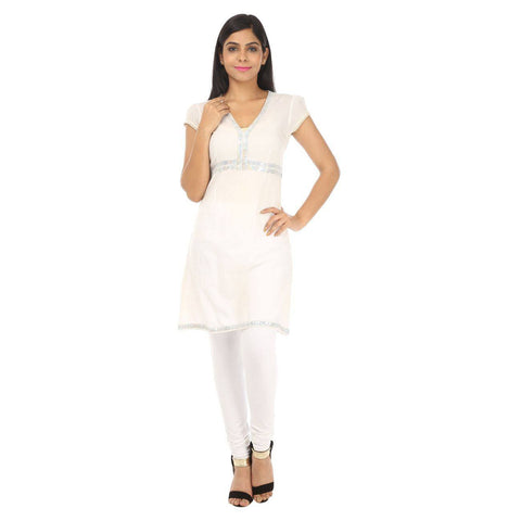 White Silver Sequined KURTI -1
