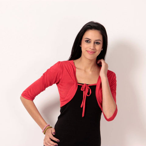 TeeMoods Stylish Red Short Shrug-Front
