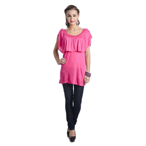 Sleeveless Solid Dark Pink Top