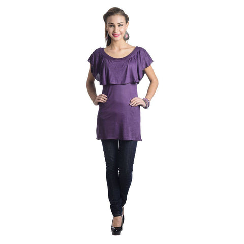 TeeMoods Sleeveless Ruffled Neck Solid Violet Top