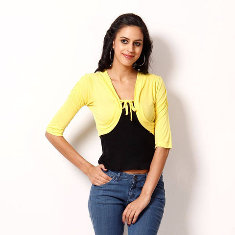 TeeMoods Stylish Yellow Short Shrug-Front