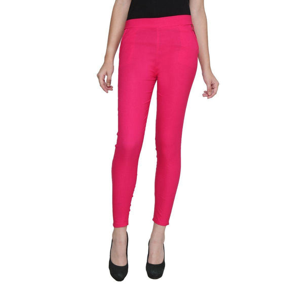 Cool Dark Pink Jeggings with Zippered Pockets-3